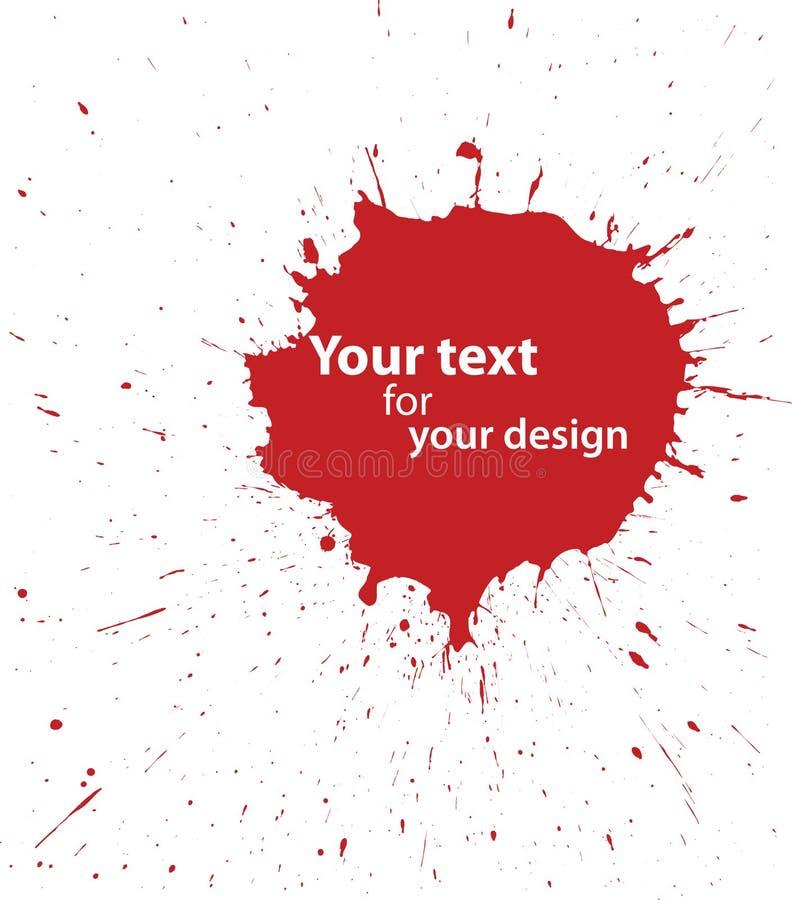 Grunge blodfläck för din design royaltyfri illustrationer