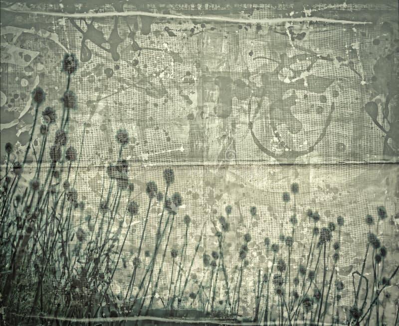 Grunge bloemencollage royalty-vrije illustratie