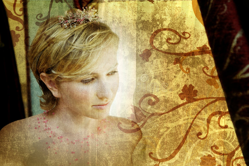 Grunge blond bride in pink royalty free stock photo