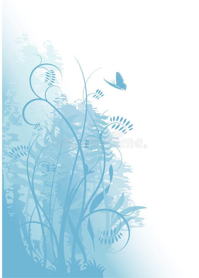 Download Grunge Blue Background With Plants And A Butterfly Stock Vector - Illustration: 8464955
