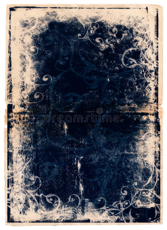 Grunge blue book page with scrolls stock illustration