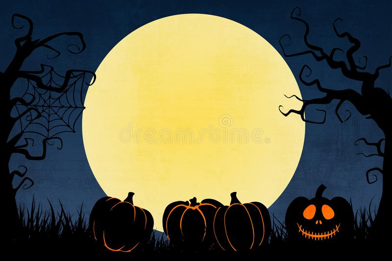 Grunge blue Halloween background with pumpkins and trees vector illustration