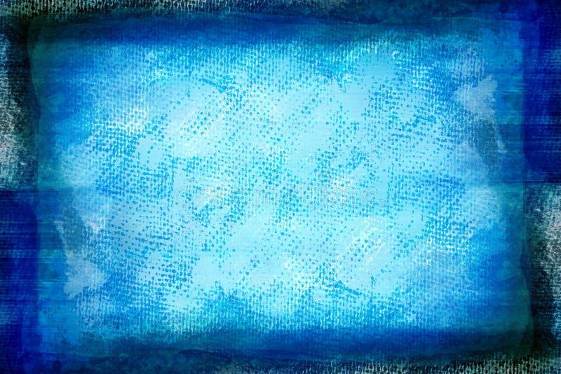 Grunge blue painted canvas stock illustration