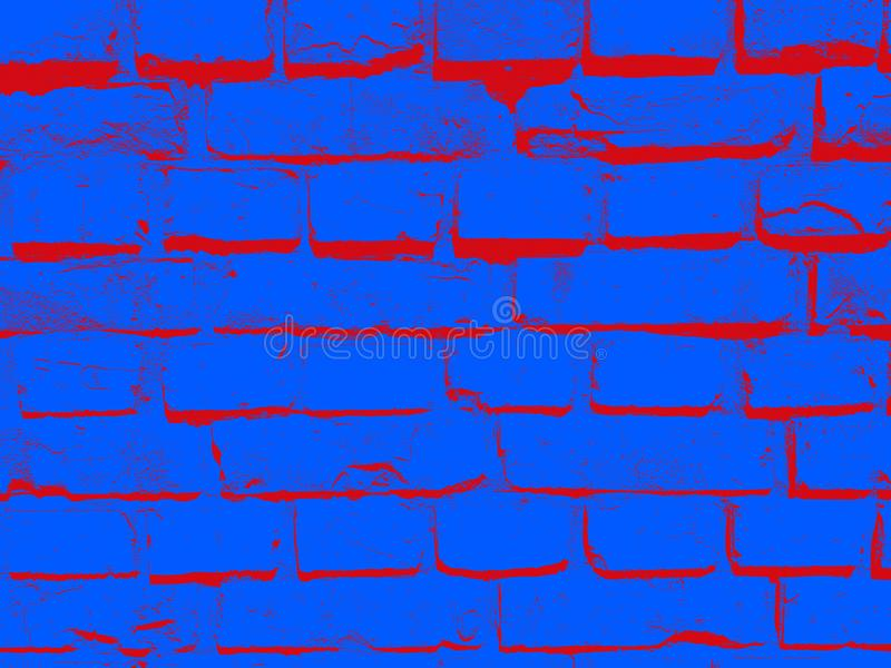 Grunge blue red brick wall aged block mansory surface urban construction decorative background for web and print royalty free stock photography