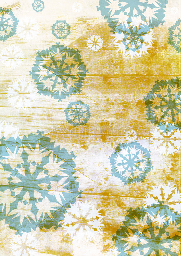 Grunge blue snowflakes on brown stock illustration
