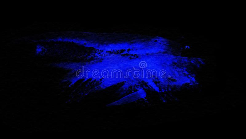 Grunge blue splash isolated on a black background. Texture shape for design. Abstract art drawing. Handwork.  royalty free illustration
