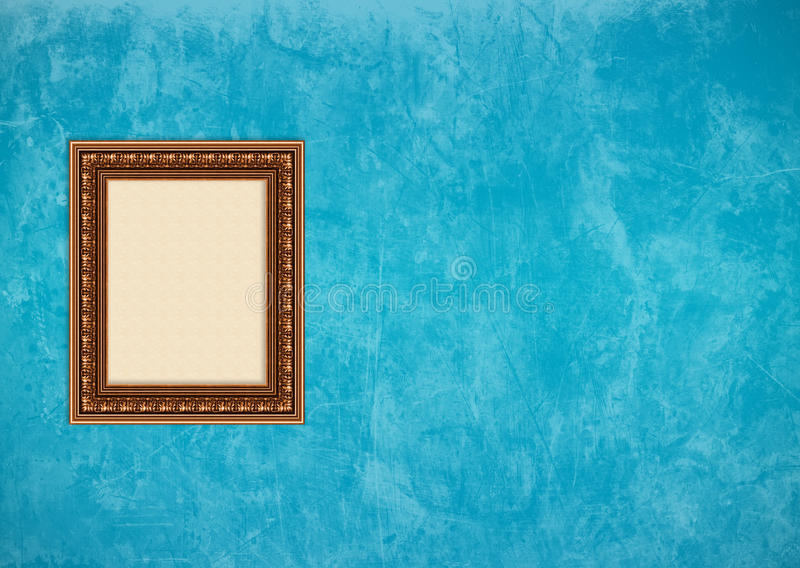 Download Grunge Blue Stucco Wall With Empty Picture Frame Stock Image - Image of baroque, grungy: 10192603