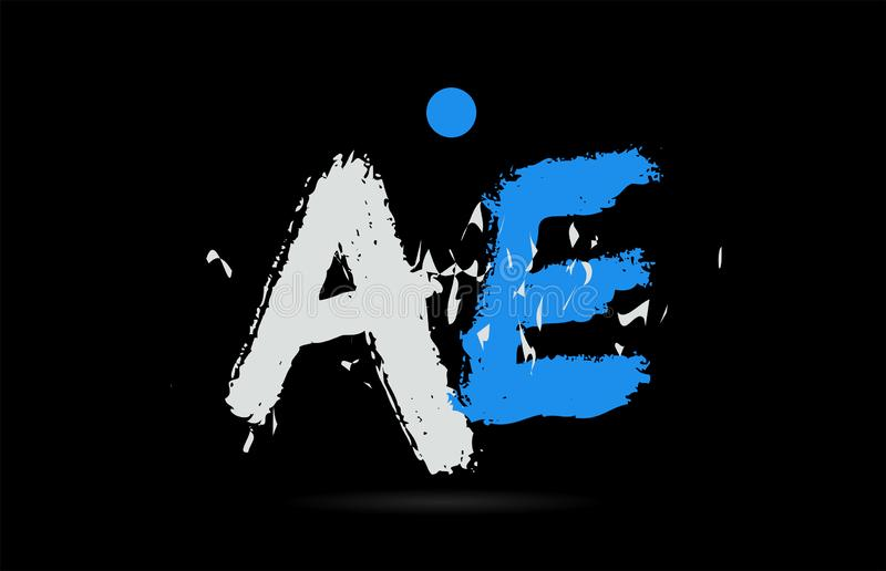 Blue white alphabet letter combination AE A E logo design. Grunge blue white alphabet letter combination AE A E on black background suitable as a logo for a stock illustration
