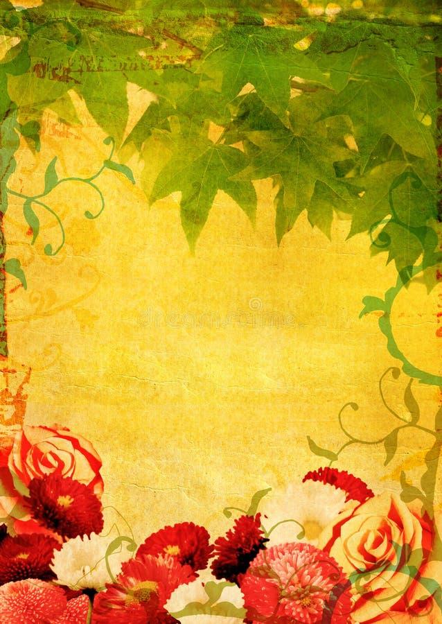Grunge Blumen und Blätter stock abbildung