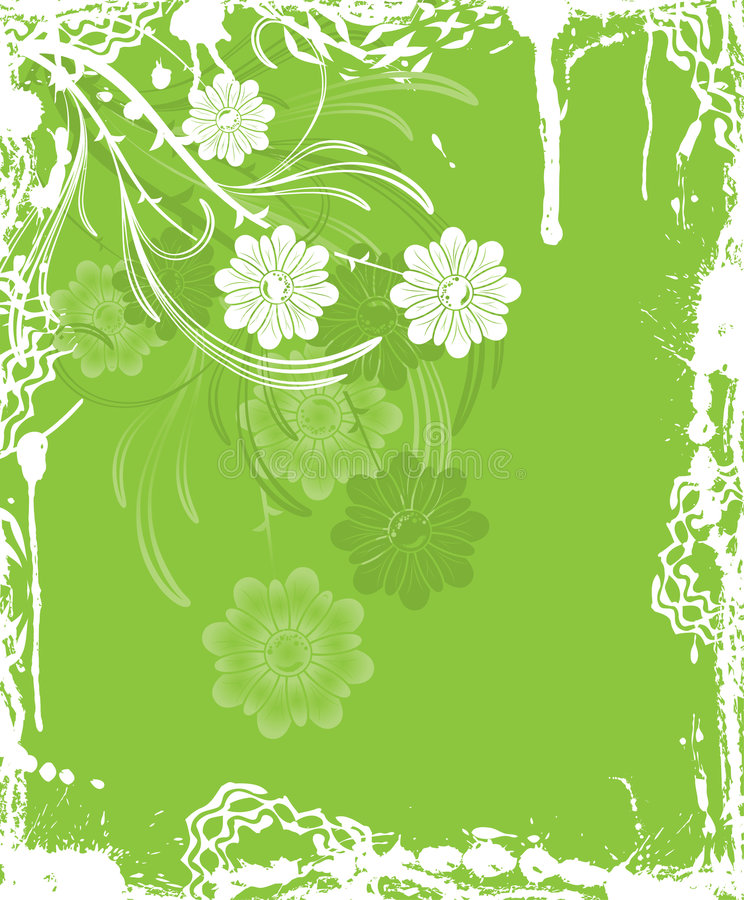 Grunge Blumenhintergrund, Elemente für Auslegung, Vektor stock abbildung