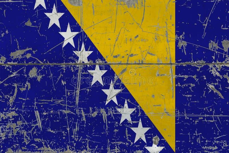 Grunge Bośnia, Herzegovina flaga na starej porysowanej drewnianej powierzchni - Krajowy rocznika tło obrazy royalty free