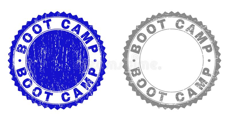 Grunge BOOT CAMP Scratched Watermarks. Grunge BOOT CAMP stamp seals isolated on a white background. Rosette seals with grunge texture in blue and gray colors stock illustration