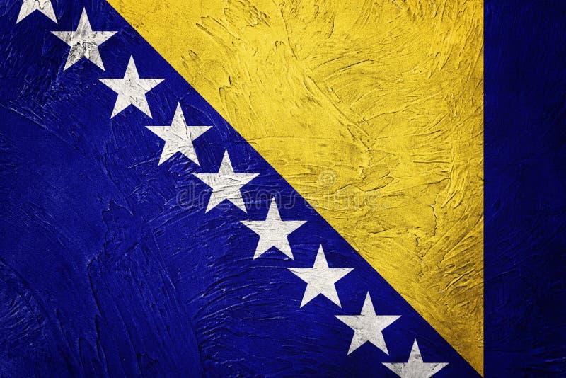 Grunge Bosnia and Herzegovina flag. Bosnian flag with grunge tex. Ture. Grunge flag royalty free stock photos