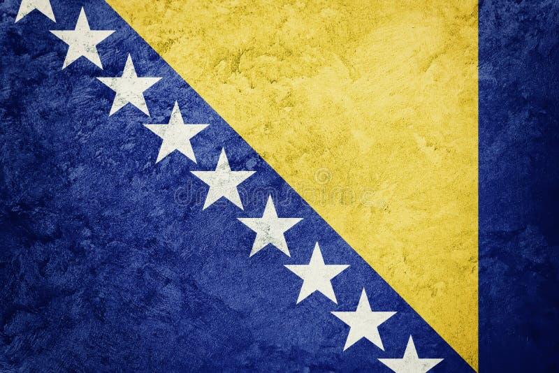 Grunge Bosnia and Herzegovina flag. Bosnian flag with grunge tex. Ture. Grunge flag royalty free stock photo