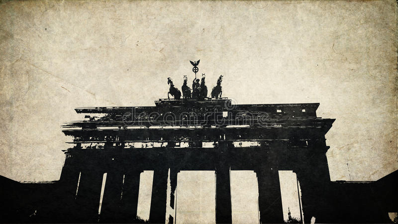 Brandenburg Gate. GERMANY - a postcard printed in GERMANY shows tinted photograph of Brandenburg Gate (Branderburgen Tor) Berlin gate near USA Embassy vector illustration