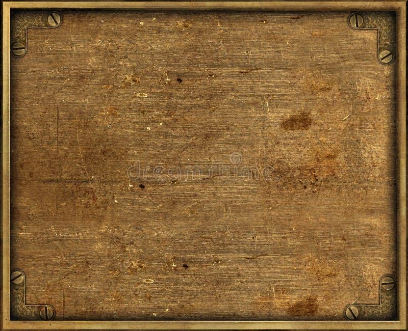 Grunge brass background plate. Yellow grunge brass background plate with frame and screws stock photo