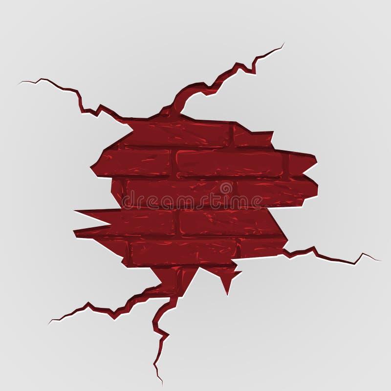 Grunge brekende bakstenen muur Vectorillustratiemalplaatje vector illustratie
