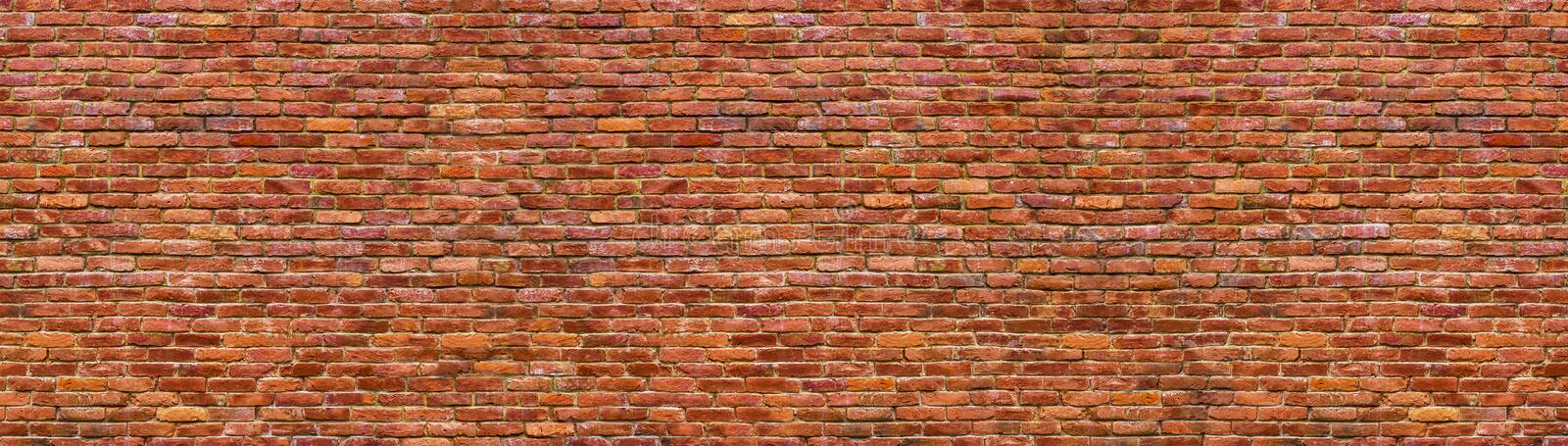 Grunge brick wall, old brickwork panoramic view stock image