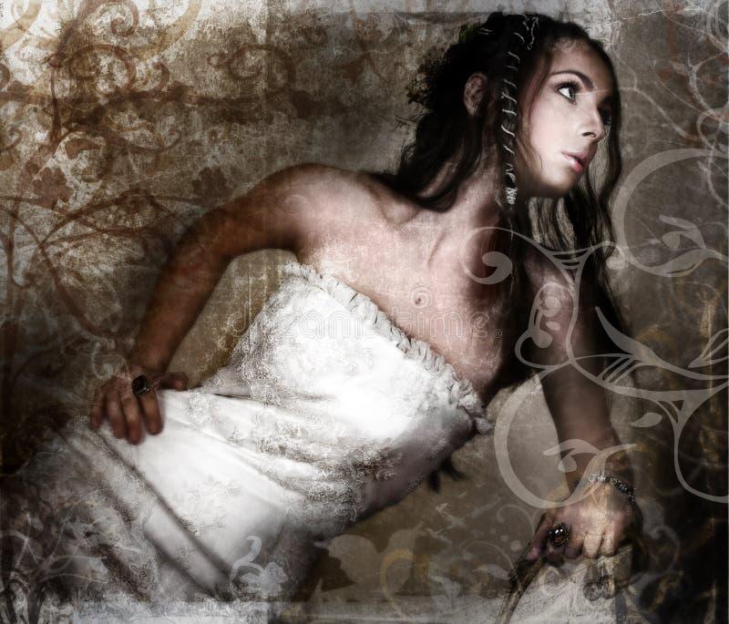 Grunge bride royalty free illustration