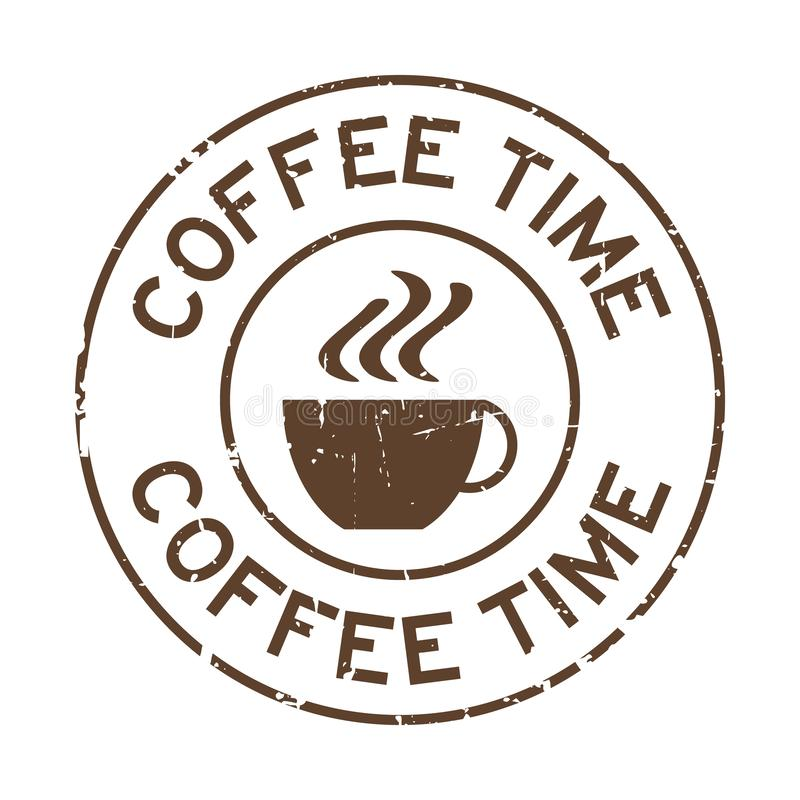 Grunge brown coffee time word with cup icon round rubber stamp on white background vector illustration