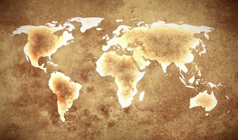 Grunge brown world map stock illustration