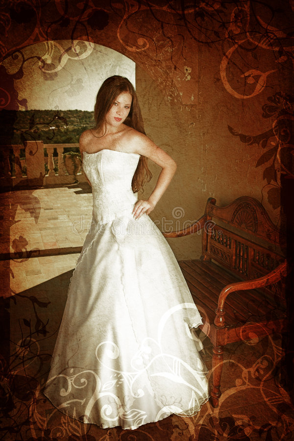 Grunge Brunette Bride Royalty Free Stock Photography
