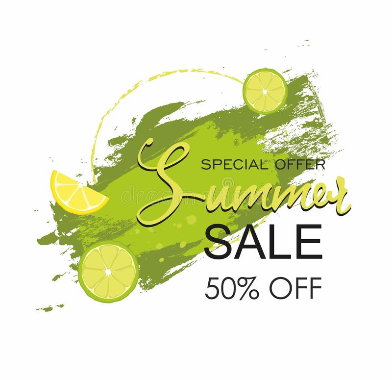 Grunge brush green paint texture with lime Summer Sale vector illustration
