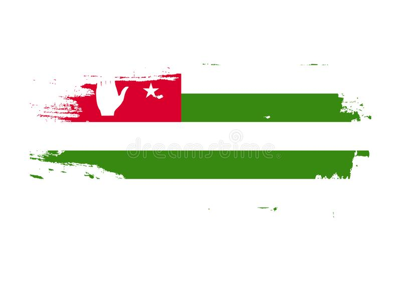 Grunge brush stroke with Abkhazia national flag. Watercolor painting flag. Symbol, poster, banner of the national flag. Vector stock illustration