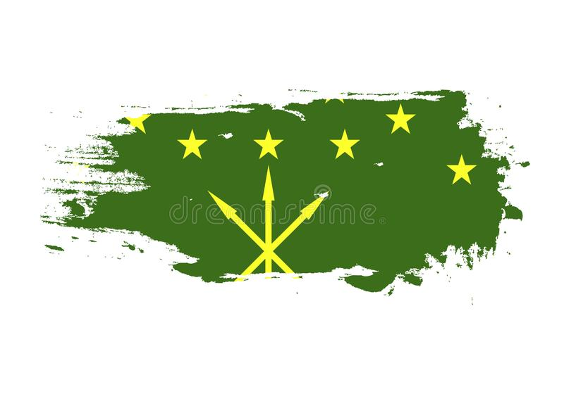 Grunge brush stroke with Adygea national flag. Watercolor painting flag. Symbol, poster, banner of the national flag. Vector royalty free illustration