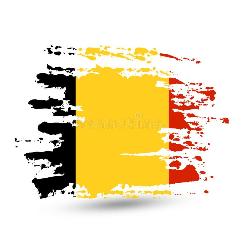 Grunge brush stroke with Belgium national flag vector illustration