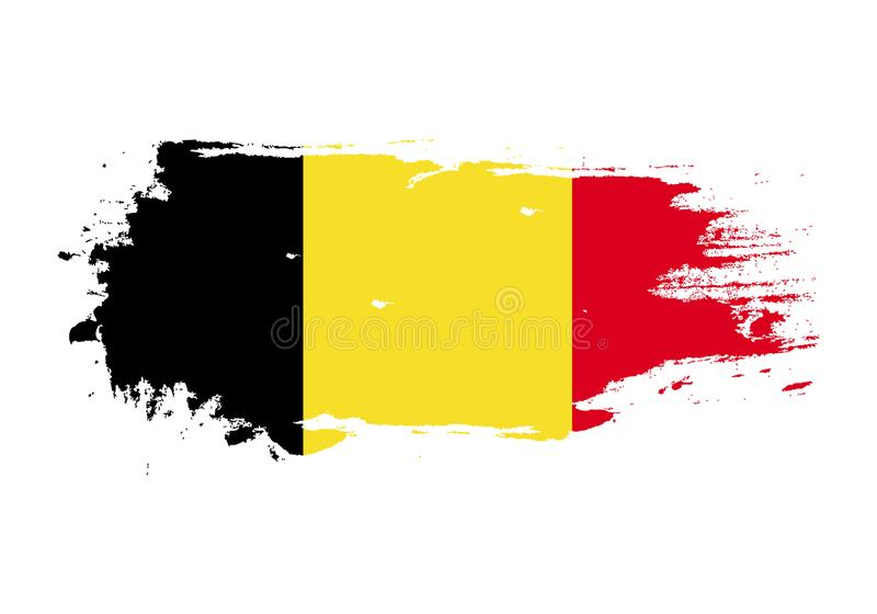 Grunge brush stroke with Belgium national flag. Watercolor painting flag. Symbol, poster, banner of the national flag. Vector stock illustration