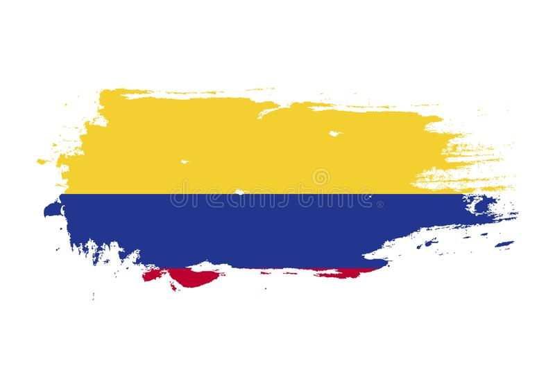 Grunge brush stroke with colombia national flag. Watercolor painting flag. Symbol, poster, banner of the national flag. Vector. Isolated on white background vector illustration