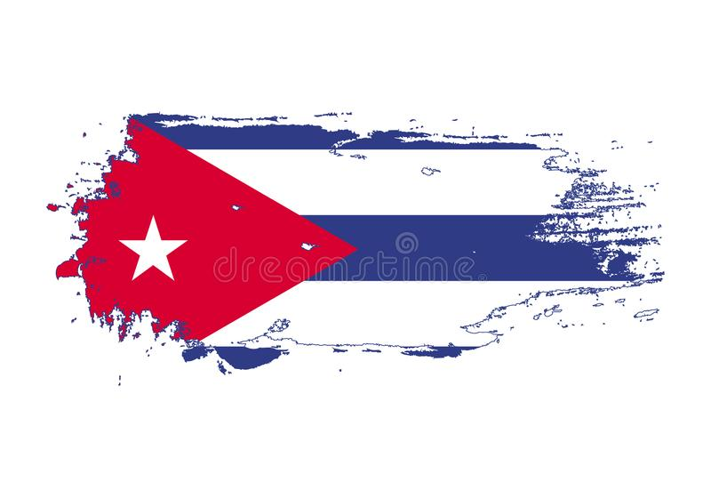 Grunge brush stroke with Cuba national flag. Watercolor painting flag. Symbol, poster, banner of the national flag. Vector stock illustration