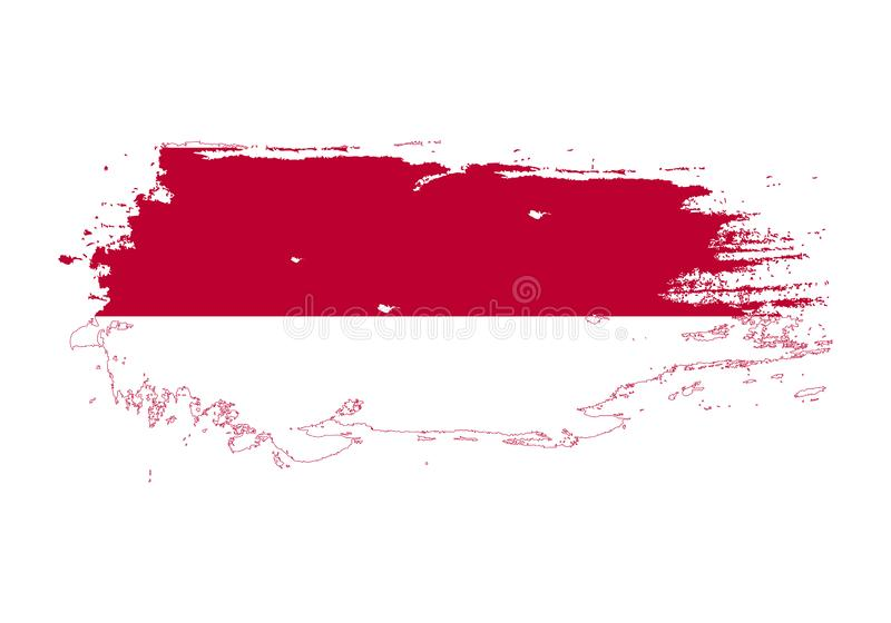 Grunge brush stroke with Indonesia national flag. Watercolor painting flag. Symbol, poster, banner. Vector Isolated on white stock illustration