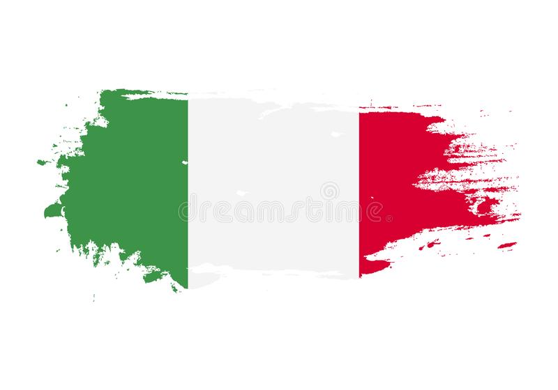 Grunge brush stroke with italy national flag. Watercolor painting flag. Symbol, poster, banner. Vector Isolated on white stock illustration