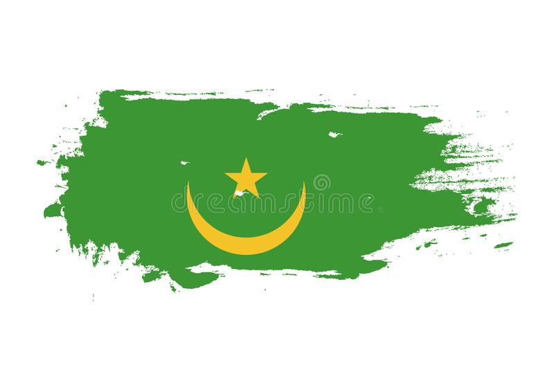 Grunge brush stroke with Mauritania national flag. Watercolor painting flag. Symbol, poster, banner. Vector Isolated on white royalty free illustration