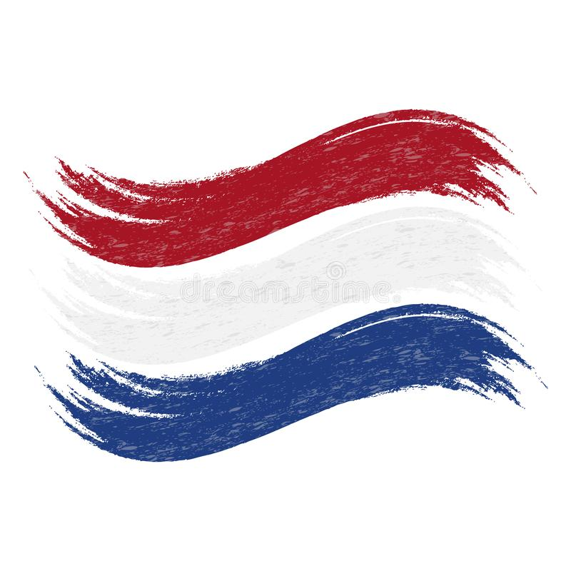 Grunge Brush Stroke With National Flag Of Netherlands Isolated On A White Background. Vector Illustration. Flag In Grungy Style. Use For Brochures, Printed royalty free illustration