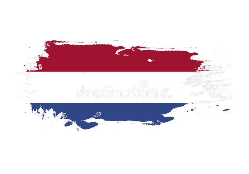 Grunge brush stroke with Netherlands national flag. Watercolor painting flag. Symbol, poster, banner. Vector Isolated on white vector illustration