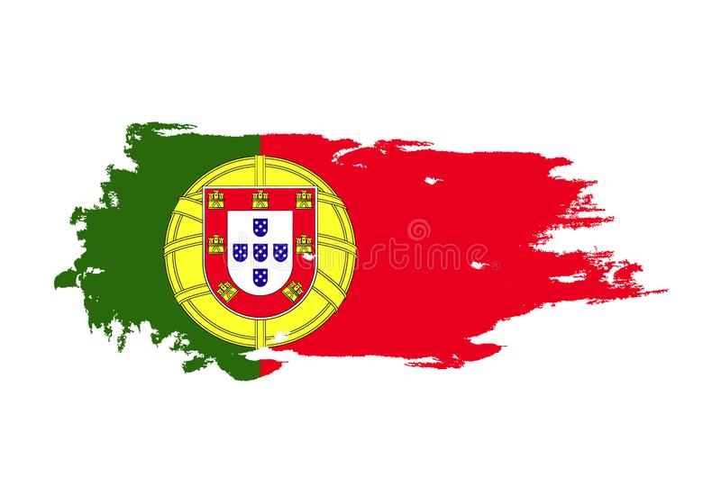 Grunge brush stroke with Portugal national flag. Watercolor painting flag. Symbol, poster, banner. Vector Isolated on white stock illustration