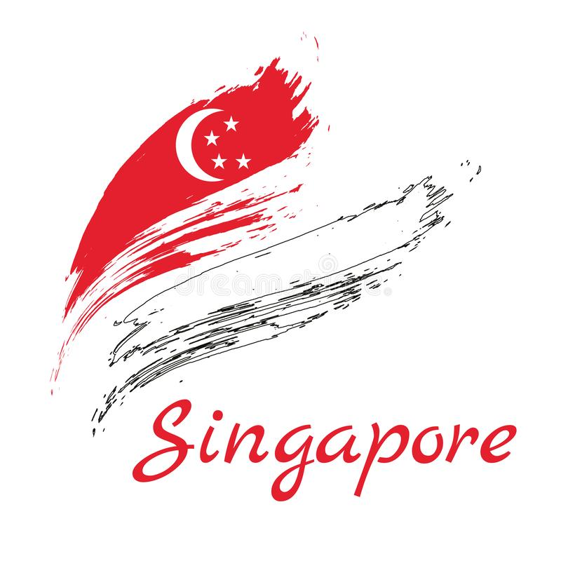 Grunge brush stroke with Singapore national flag. Watercolor painting flag of Singapore. Symbol, poster, banne of the national fl royalty free illustration