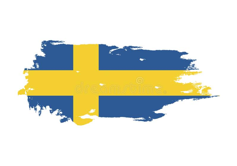 Grunge brush stroke with Sweden national flag. Watercolor painting flag. Symbol, poster, banner. Vector Isolated on white stock illustration