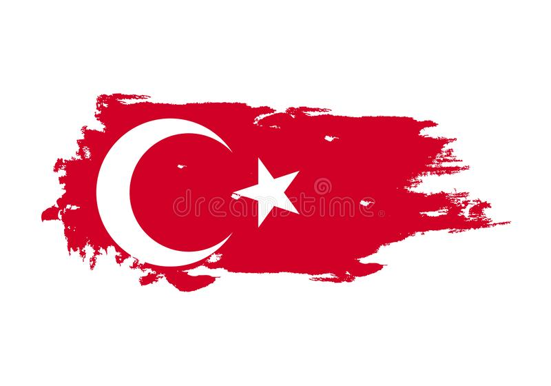 Grunge brush stroke with turkey national flag. Watercolor painting flag. Symbol, poster, banner. Vector Isolated on white royalty free illustration
