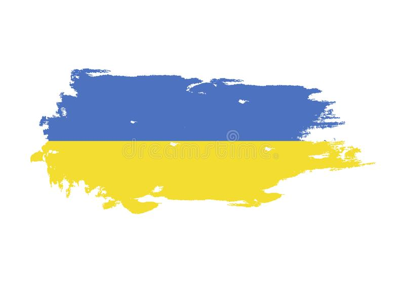 Grunge brush stroke with Ukraine national flag. Watercolor painting flag. Symbol, poster, banner. Vector Isolated on white royalty free illustration