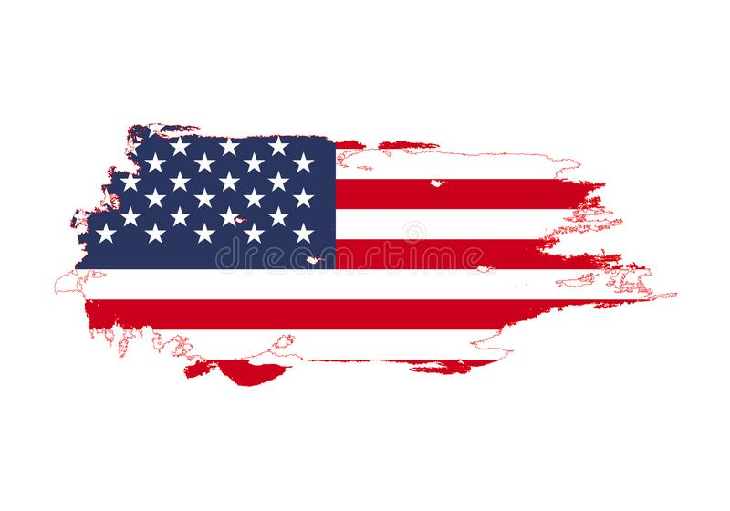 Grunge brush stroke with United States national flag. Watercolor painting flag. Symbol, poster, banner. Vector Isolated on white stock illustration