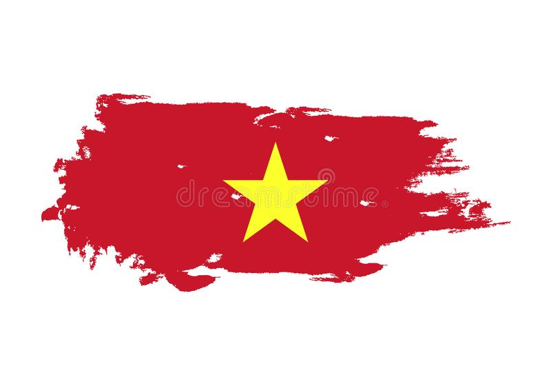 Grunge brush stroke with Vietnam national flag. Watercolor painting flag. Symbol, poster, banner. Vector Isolated on white royalty free illustration