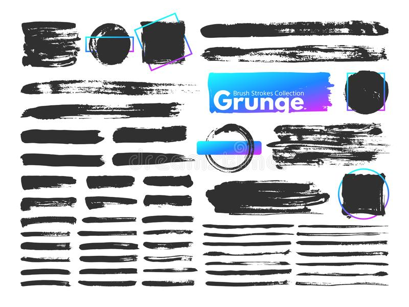Grunge brush strokes. Watercolor paintbrush stroke line. Dirty square frames, messy brushes and decoration rectangular stock illustration
