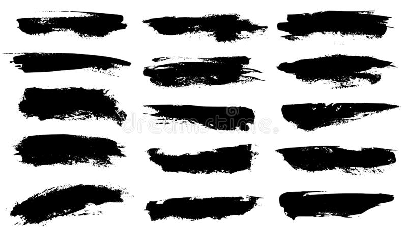 Grunge brushes. Black paint strokes, ink paintbrush texture. Brushstroke stain grungy drawing frame borders, isolated vector illustration
