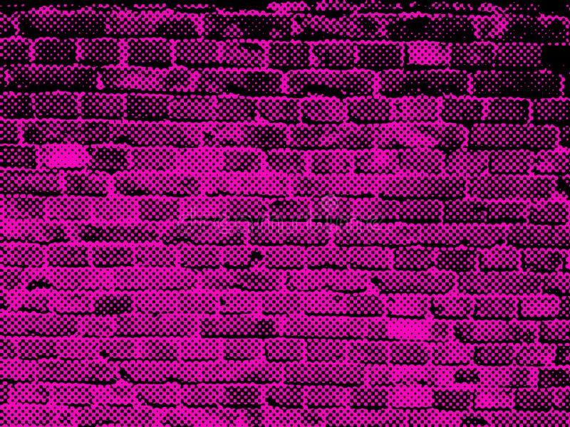 Grunge budowy różowa purpurowa czarna ściana z cegieł starzejący się blokowy mansory nawierzchniowy miastowy tło dla sieci i druk royalty ilustracja
