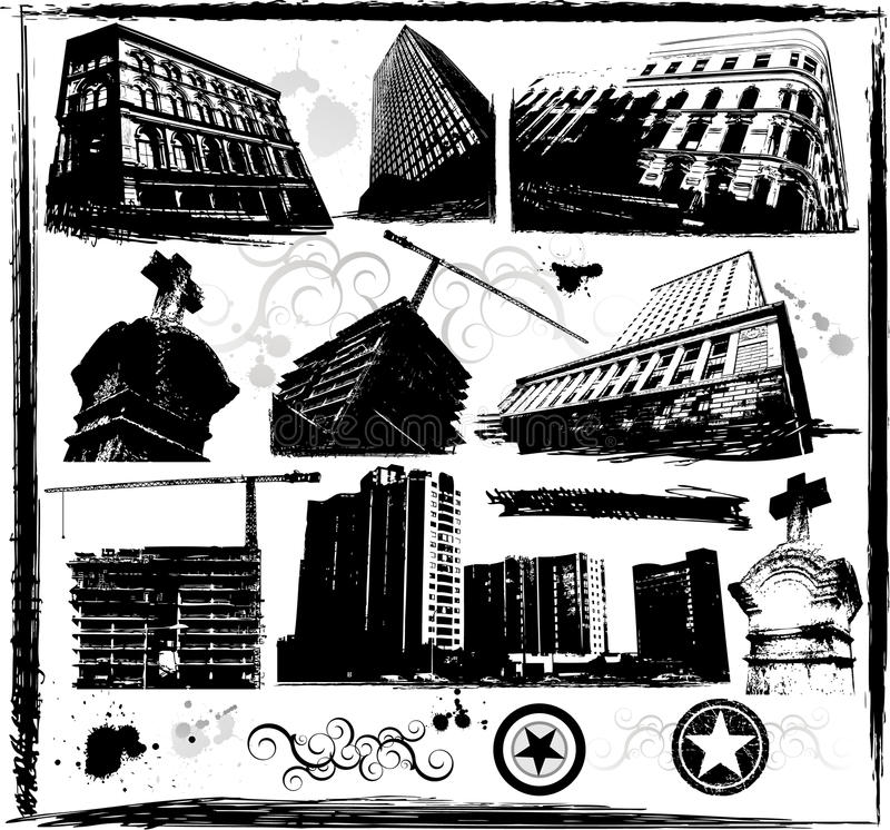 Grunge buildings. Design, vector illustration