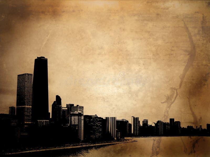 Grunge buildings royalty free illustration